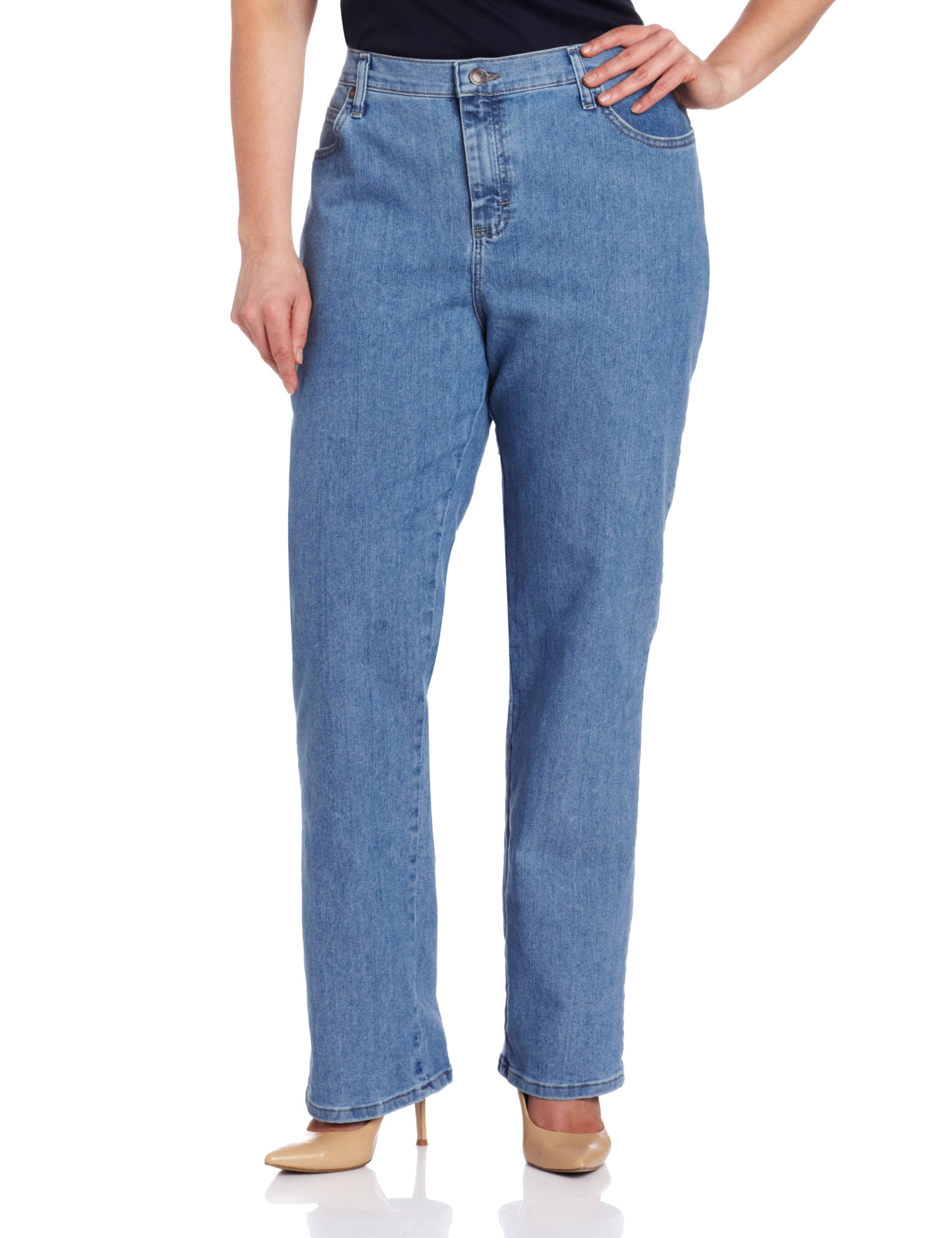 LEE Women's Plus-Size Relaxed Fit Straight Leg Jean, Premium Light, 30W Petite