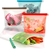 Silicone Food Bags, Reusable Sandwhich Bags & Freezer Bags - Set of 4 – Double Thick Silicone Bags – Economical & Eco…