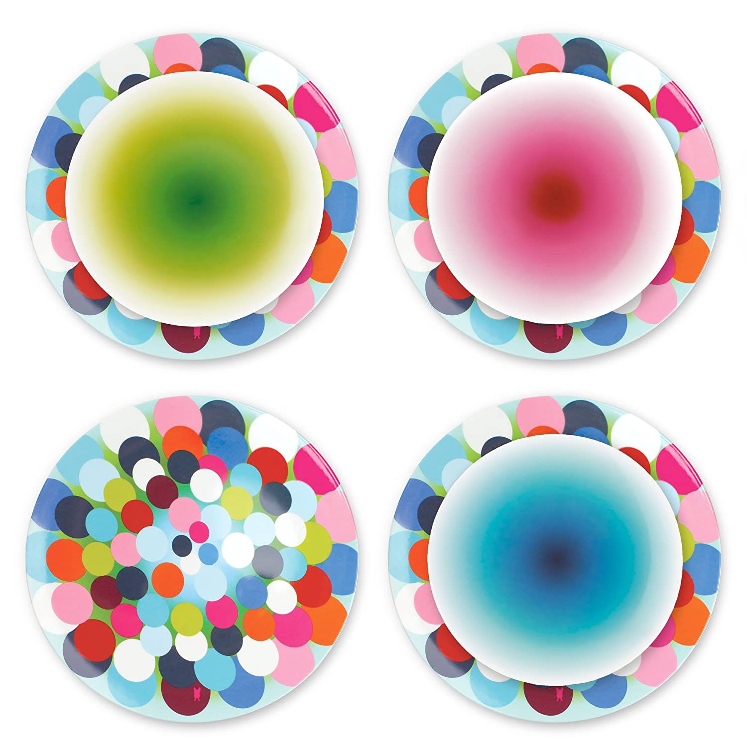 Dish Serving Platter Melamine Dinnerware Collection Ombre French Bull 7 Appetizer Plate Set of 4