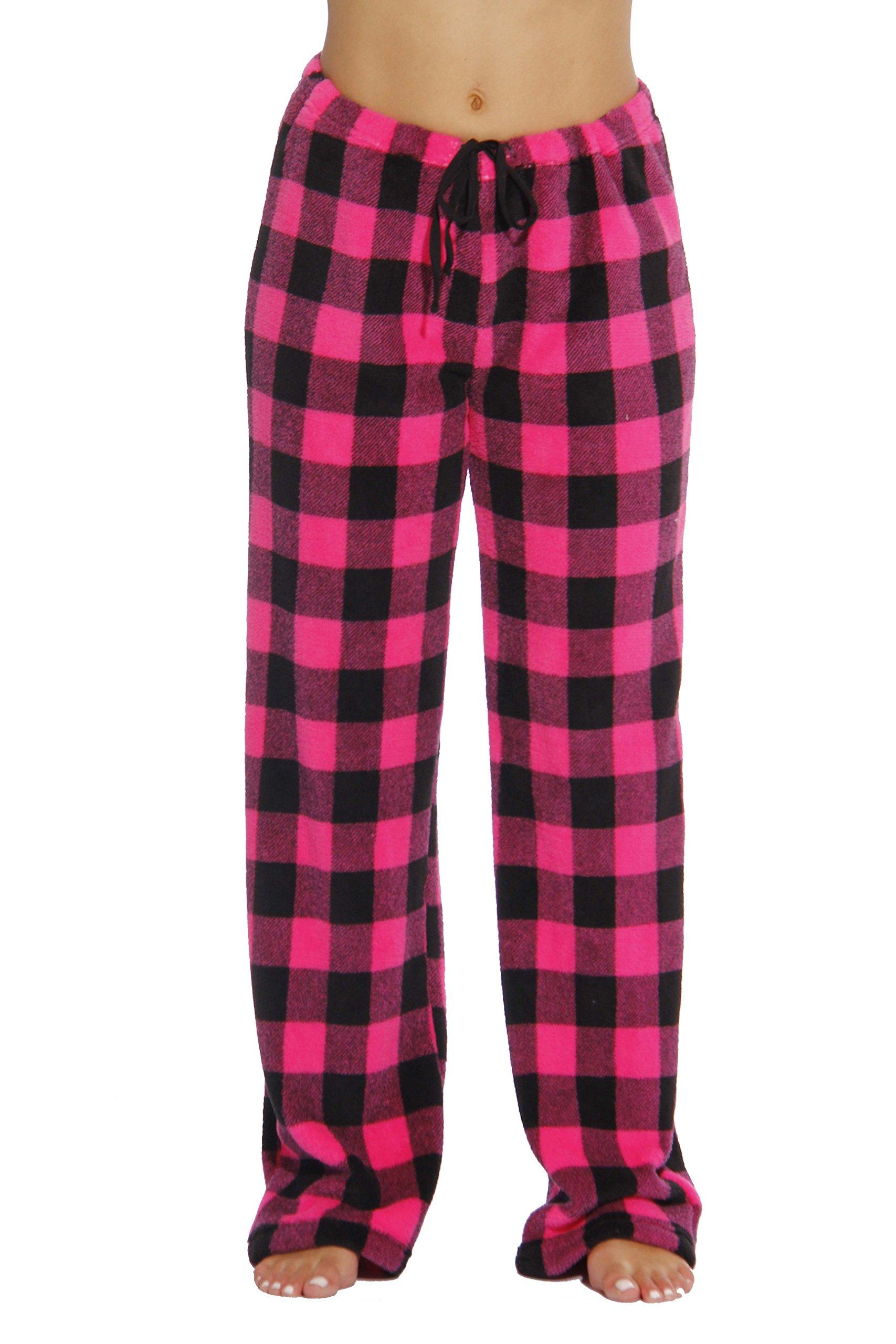 Just Love Women's Buffalo Plaid Plush Check Pajama Pants, Buffalo Plaid Fuchsia / Black, Small