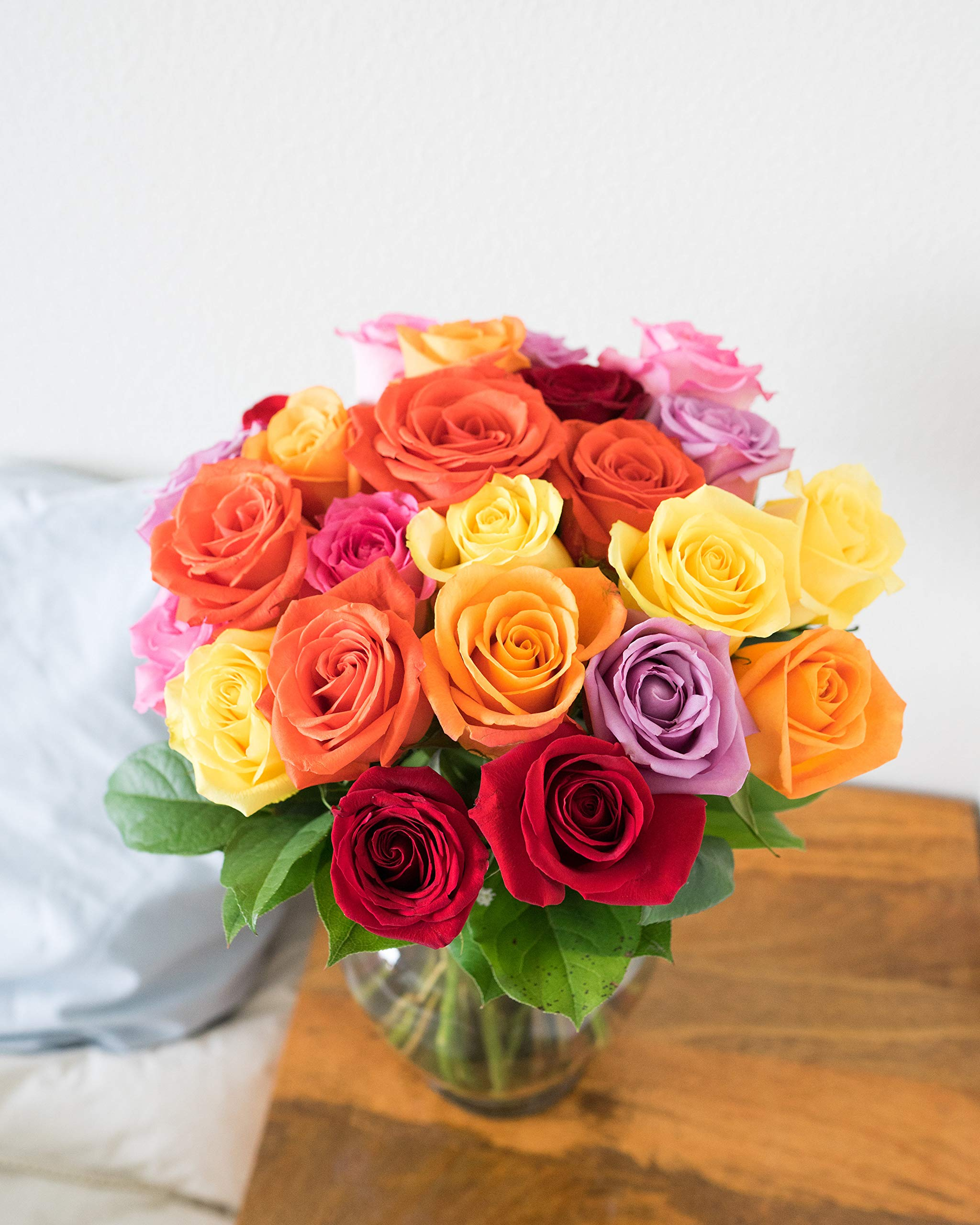 Flowers - Two Dozen Rainbow Roses with Godiva & Bear (Free Vase Included) by From You Flowers (Image #3)