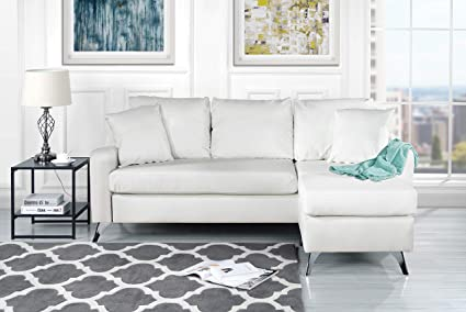 Divano Roma Furniture Bonded Leather Sectional Sofa   Small Space  Configurable Couch (White)