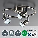 Applique de plafond LED / GU10 / 3W / 250lumen / orientable / avec anneau en chrome / Nickel mat, Nickel mat, 3er Spot, GU10[Classe énergétique A+]