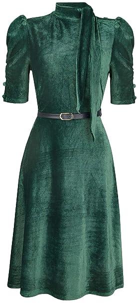 Voodoo Vixen Penelope Velvet Vestido Verde S