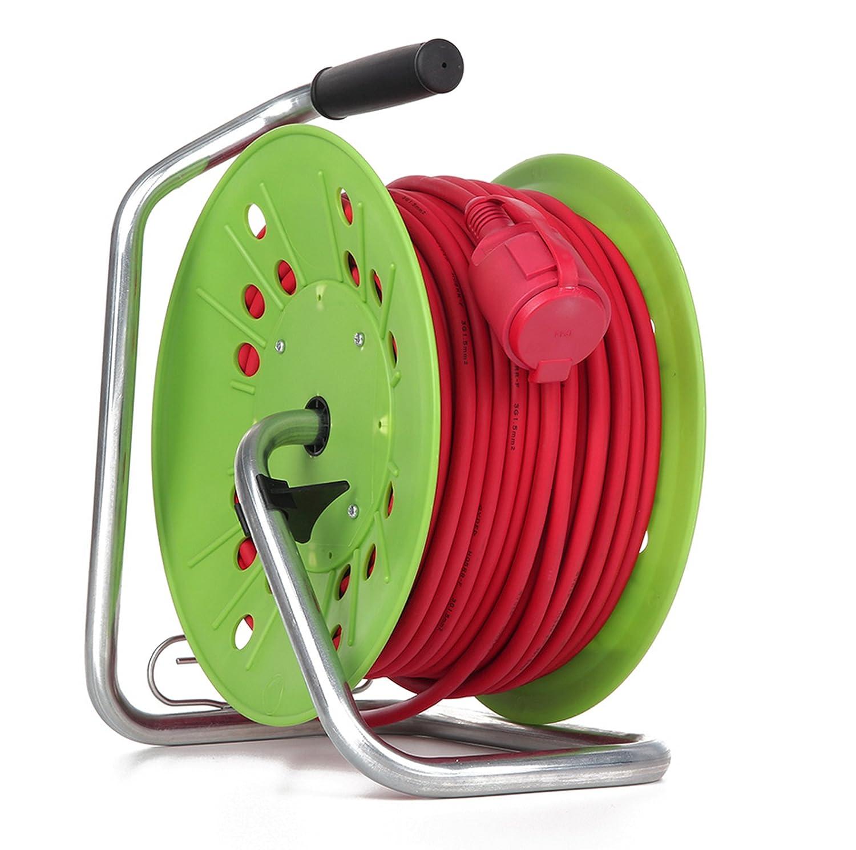 As Sicurezza A.T.S per Esterni Colore: Verde//Rosso /Ø 230 Mm Schwabe 25 M Avvolgicavo H05Rr-F 3G1.5 Ip44