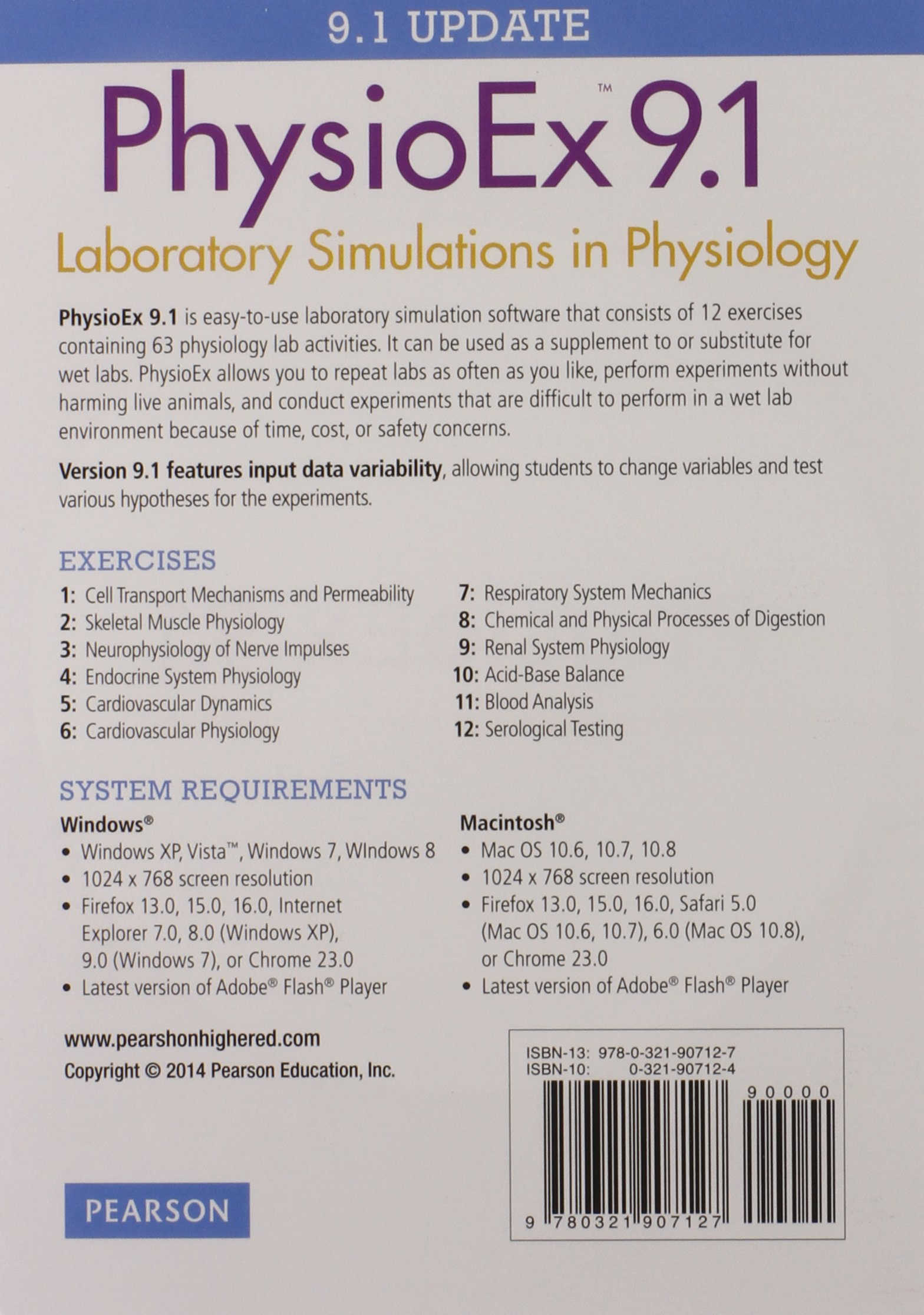 PhysioEx 9.1 CD-ROM (Integrated Component): Peter Zao, Timothy N. Stabler,  Lori A. Smith, Andrew Lokuta, Edwin Griff: 9780321907127: Amazon.com: Books