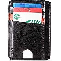 J&D Slim Front Pocket Wallet Minimalist RFID Blocking PU Leather Card Wallet Secure Card Holder for Men Women