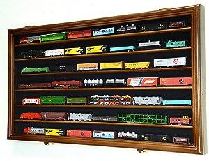 N Scale Train Model Trains Display Case Cabinet Wall Rack w/ 98% UV Lockable -Walnut