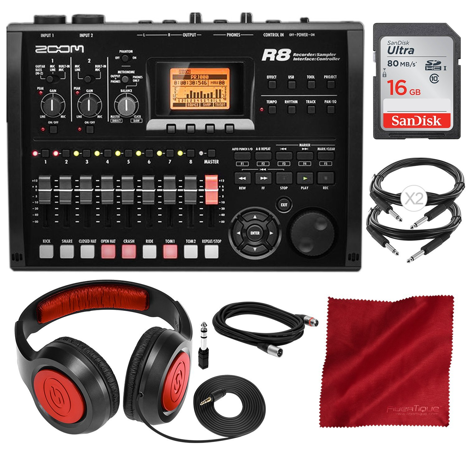 Zoom R8 Multi-Track Digital Recorder/Interface/Controller/Sampler with 16GB SD Card, Samson Headphones, and Accessory Bundle
