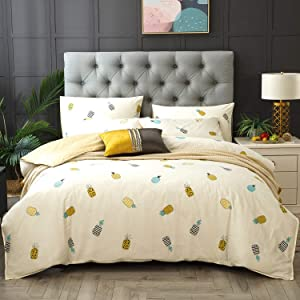 Kosa Bedding 3 Pieces Duvet Cover Set,Yellow Pineapple Print,Premium Cotton, Comforter Cover with Zipper Closure,Soft and Easy Care,Reversible Fruit Pattern Bedding Set for All Season (Queen Size)