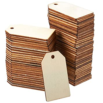 Unfinished Wood Tag 60 Pack Wooden Gift Tags Natural Rustic Wood Craft Labels For Home Diy Supplies Wedding Decoration 2 25 X 1 25 Inches