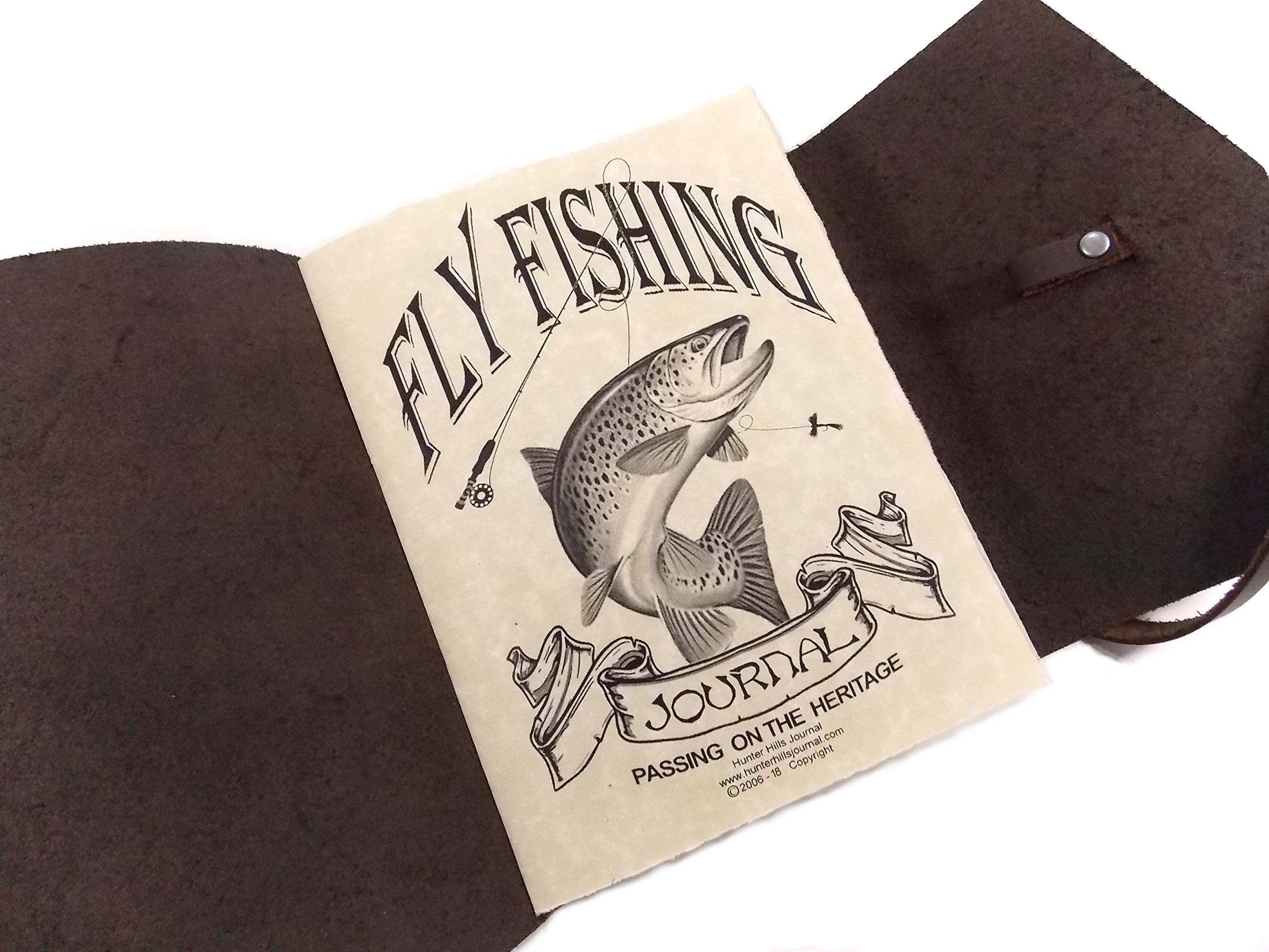 Leather Fly Fishing Journal, Rustic Handmade, Dark Brown by HunterHills Journal