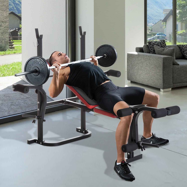 HOMCOM Banco de Pesas Multifuncional Tipo Banco de Musculación con Respaldo Ajustable Carga 150kg Acero 105x150x112cm: Amazon.es: Deportes y aire libre