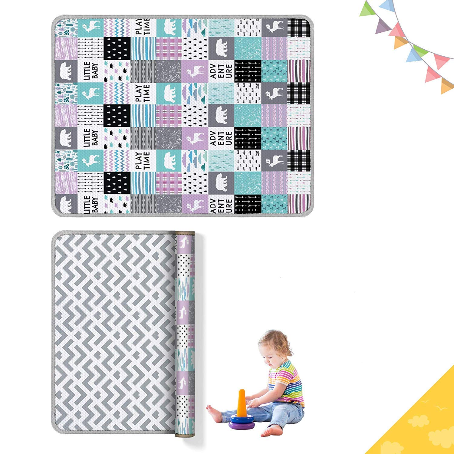 Baby Play Mat 79 x 71 x 0.6 Inches Waterproof and Anti-Slippery Activity Rug Double Sided and Reversible Playmat Comes Rolled in a Huge Box Playful for Tummy Time