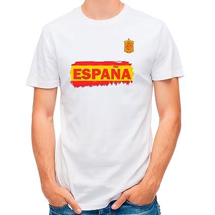 Lolapix Camiseta España Blanca selección de fútbol Personalizada Nombre y Numero. Hombre