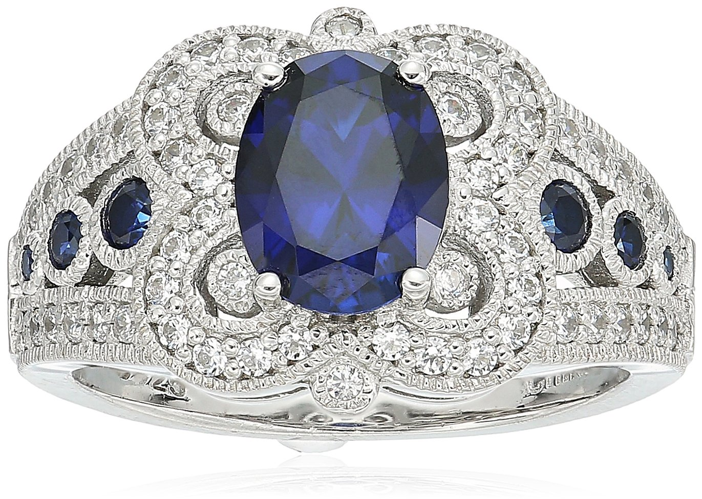 Platinum Plated Sterling Silver Oval Created Sapphire Vintage Style Swarovski Zirconia Accents Ring (6 cttw), Size 7