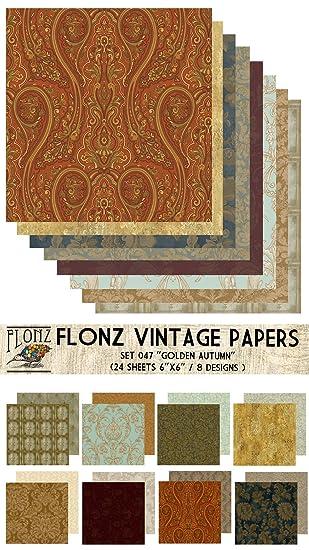 Paper Pack (24blatt 15x15cm) Golden Autumn FLONZ Vintage Muster ...