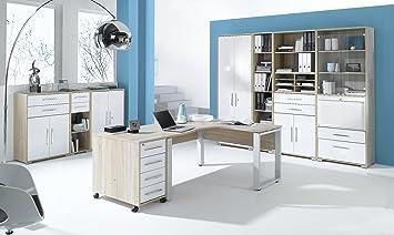 arbeitszimmer buromobel maja system 1250 komplettset in eiche sonoma weiss hochglanz auch in anderen