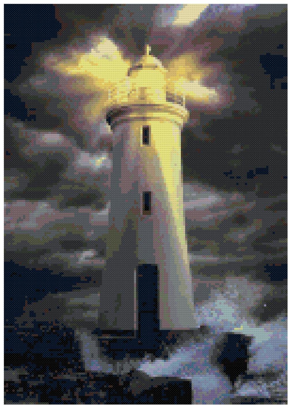 Lighthouse At Night Nautical Counted Cross Stitch Pattern
