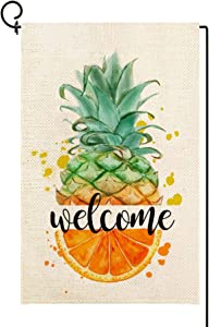 Molili Small Welcome Pineapple Garden Flag Burlap Vertical Double Sided,Summer Spring Pineapple and Orange Yard Outdoor Decoration,Seasonal Outdoor Flag 12.5 x 18inch