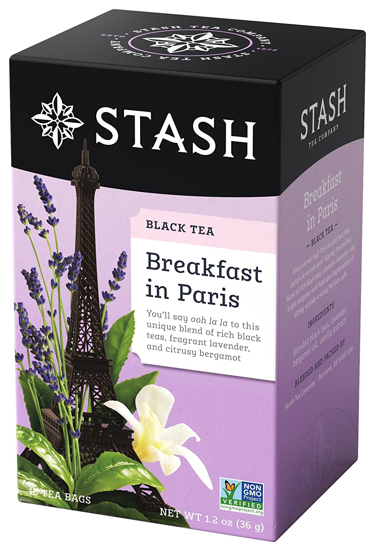 Stash Tea Breakfast in Paris Black Tea 18 Count Tea Bags in Foil (Pack of 6) (Packaging May Vary) Individual Black Tea Bags for Use in Teapots Mugs or Cups