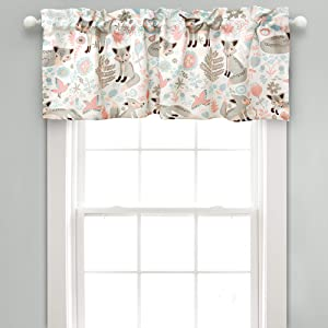 "Lush Decor Pixie Fox Room Darkening Window Valance, 18"" x 52"" + 2"" Header, Gray Curtain Valence, Pink & Gray"