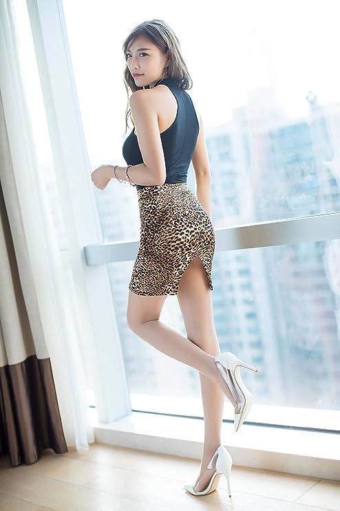 aeca87037c Amazon.com  Tomtop201309 Women Sexy Lingerie High Cut Leotard Bodysuit  Jumpsuit Swimwear and See-Through Split Back Bodycon Mini Skirt  (Black+Leopard ...