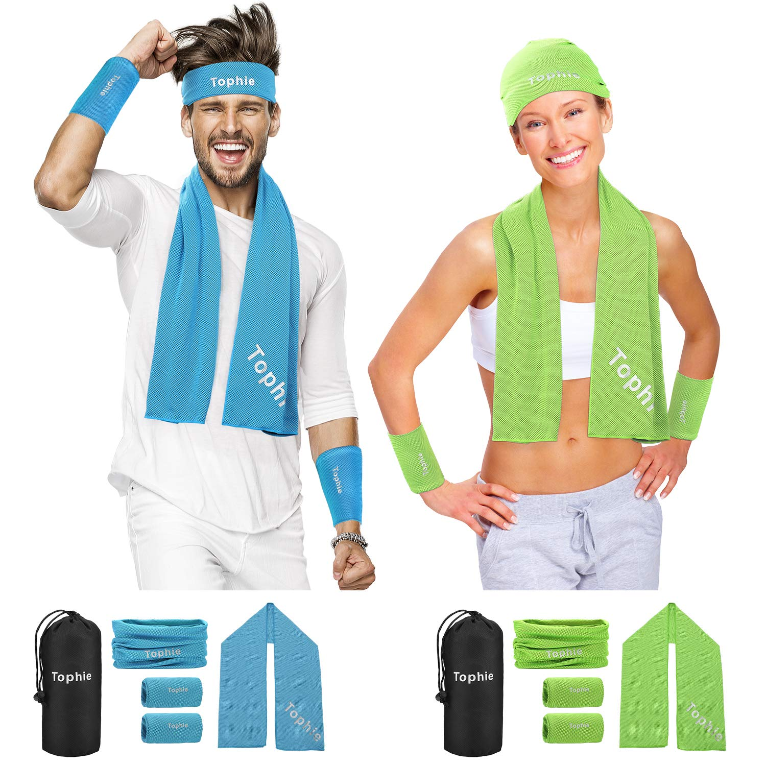 Cooling Towel Headbands Neck Wrap Wristbands Set(Green) for Man and Women, Microfiber Towel for All Activities. Keep Cool Scarf for Workout, Gym, Yoga,Travel,Golf with UV Resistence Function by Tophie