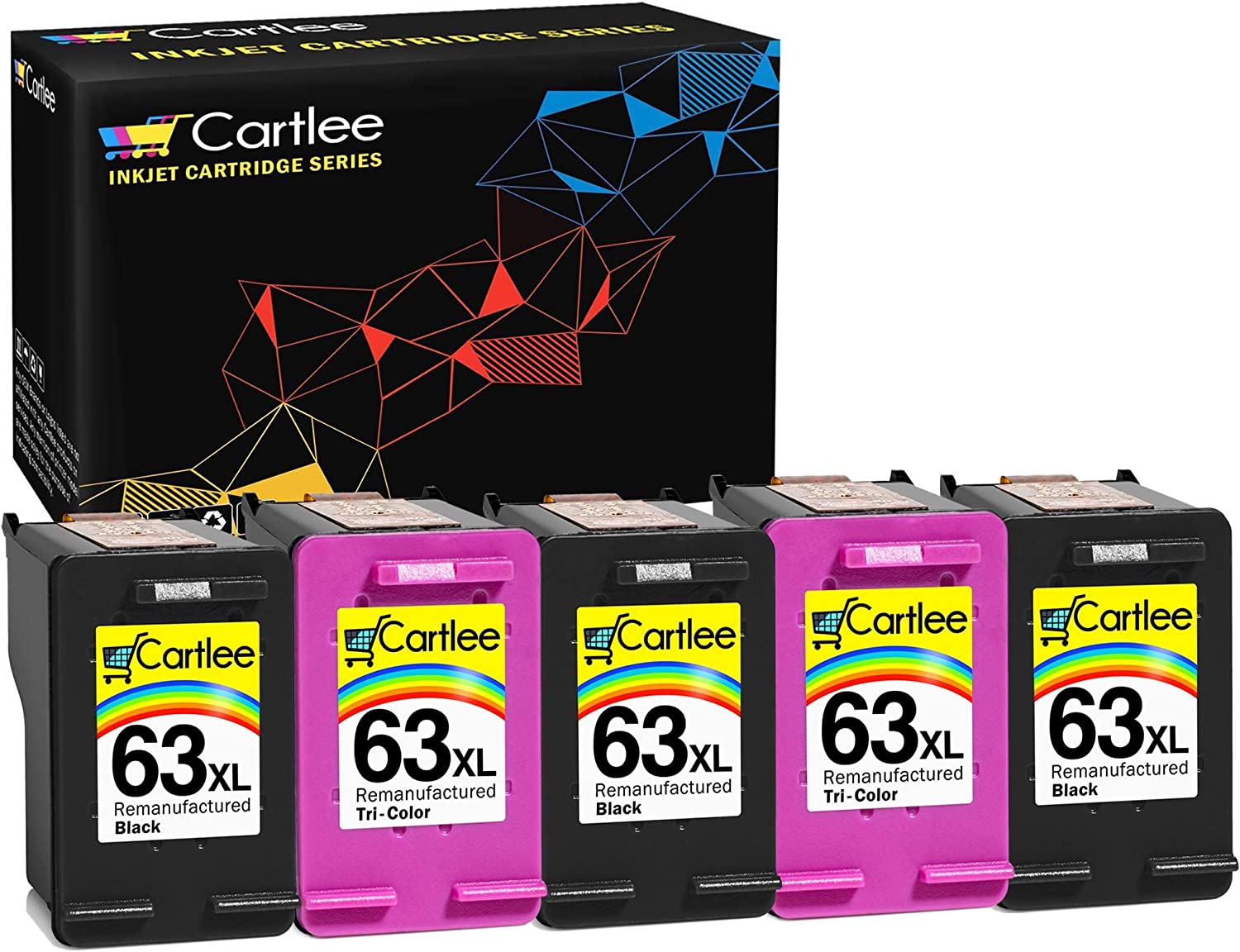 Cartlee 5 Remanufactured 63XL 63 XL High Yield Ink Cartridges for HP Envy 4512 4520 DeskJet 3632 2130 1110 1112 2132 3630 3634 3636 3637 OfficeJet 3830 3833 4650 4652 5255 5258 Printer Black, Color