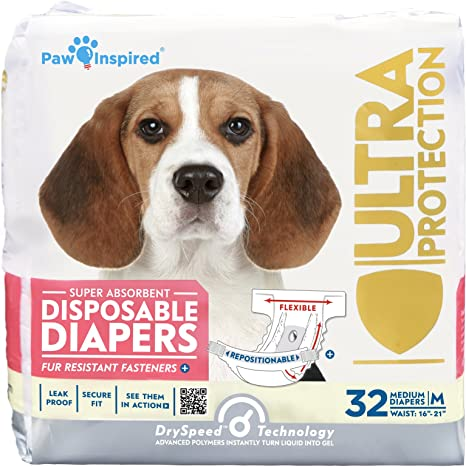 Paw Inspired 32ct Disposable Dog Diapers