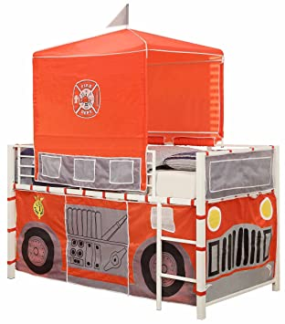 Amazon Com Homelegance B2028 1 Fire Truck With Tent Metal Loft Bed
