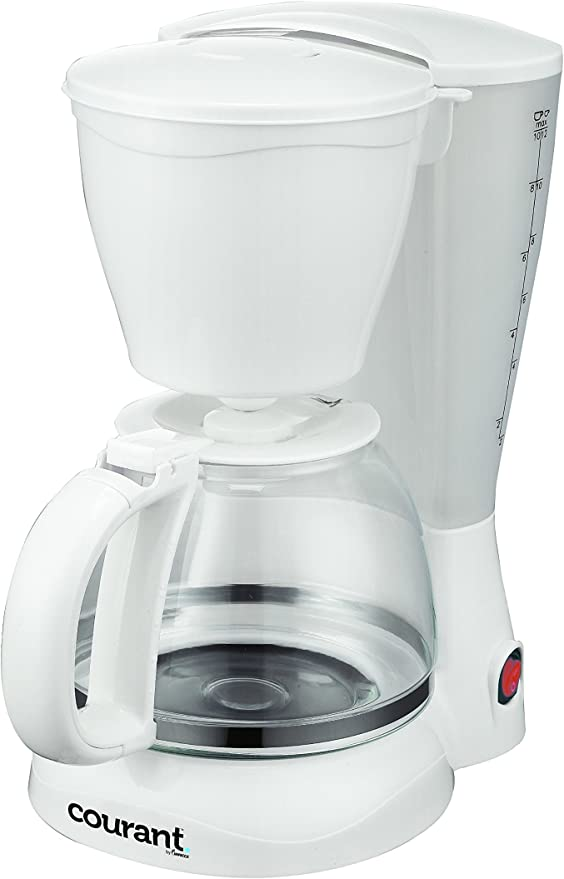 Courant Coffee Maker with Permanent Filter and Spoon in White 8-Cup Anti-Drip
