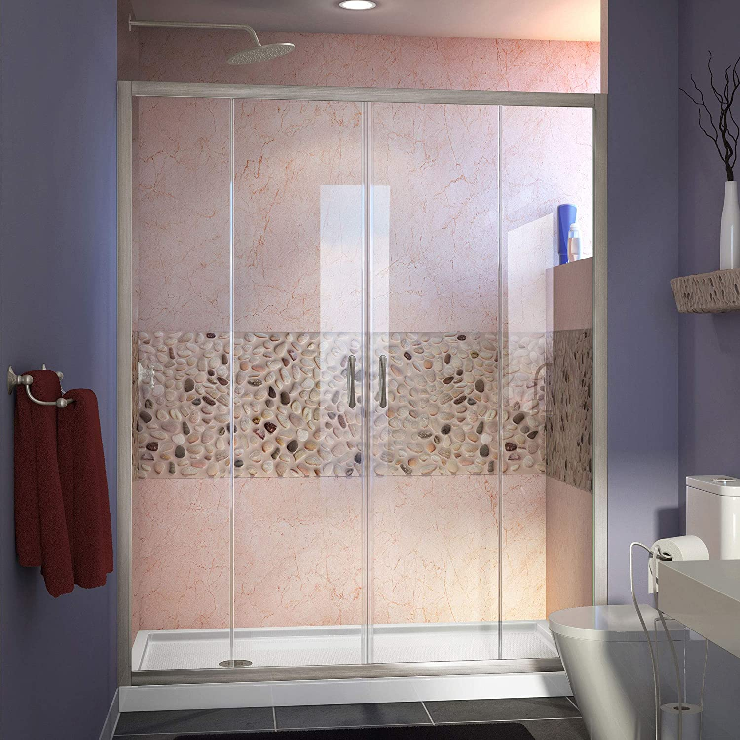 DreamLine DL-6960L-04CL Visions 30 in. D x 60 in. W x 74 3 4 in. H Sliding Door in Brushed Nickel with Left Drain White Shower Base