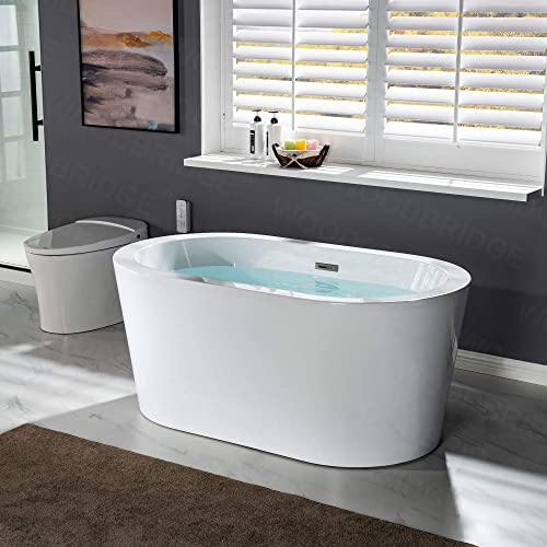 WOODBRIDGE 56″ Acrylic Freestanding Bathtub Contemporary Soaking Tub