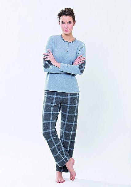 Pijama de para mujer de invierno de forro polar con pantalón escocés Jeans XXL