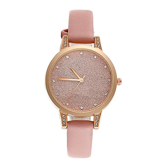 Reloj mujer lancardo reloj analógico pulsera cuarzo cristal esfera gráfico Ultra delgada correa de piel pulsera reloj mujer rosa: Amazon.es: Relojes