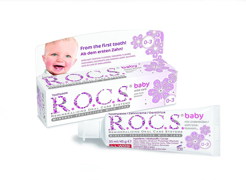 Dentifrice R.O.C.S. Baby Linden pour bé bé s / ROCS ne contient pas de fluor, ni d' allergè nes, ni de colorants ou agents abrasifs. ni d' allergènes 4607034470531