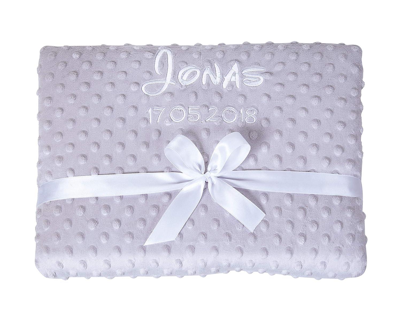 Ami Lian® Bibos Couverture moelleuse pour bébé avec nom et date brodés Couverture pour enfant Gris Amilian®