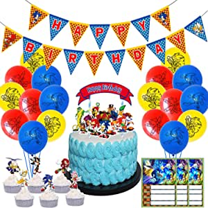 Amazon Com Nelton Birthday Party Supplies Includes Banner Cake Topper 24 Cupcake Toppers 18 Balloons 15 Invitation Cards For Sonic The Hedgehog Health Personal Care