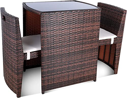 GARTIO 3PCS Wicker Bistro Set, Outdoor Garden Lawn Sofa Furniture, with Glass Top Table and 2 Cushioned Chairs with Waterproof Mat, Space Saving Design, Suit for Backyard,Yard and Porch