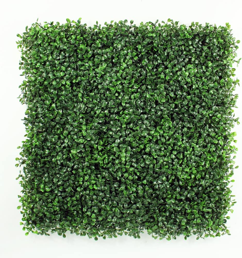 "ULAND Artificial Boxwood Hedges Panels, Faux Grass Wall, Shrubs Bushes Backdrop, Garden Privacy Screen Fence Decoration, Pack of 12pcs 20""x20"""