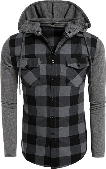 COOFANDY Camisa con Capucha Desmontable Hombre Manga Larga Cuadros con Bolsillos