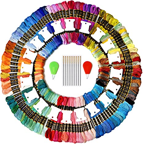 Crafts Floss Cross Stitch Threads 14 Skeins Per Pack Embroidery Floss Premium Rainbow Color Embroidery Floss Bright Turquoise Gradient Friendship Bracelets Floss