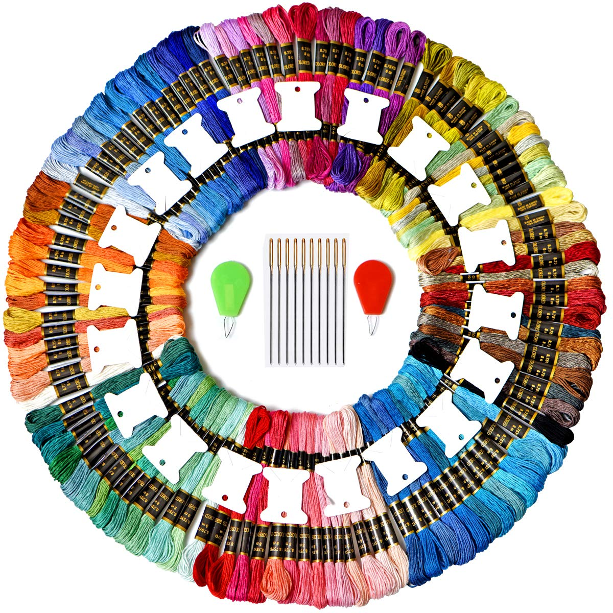 Colored Bird Embroidery Floss 142 Pack Embroidery Thread Friendship Bracelet Strings kit with Free Set of 20 pcs Organizer Floss Bobbins 10pcs Needles&2pcs Colorful Wire Loop Needle threaders cq