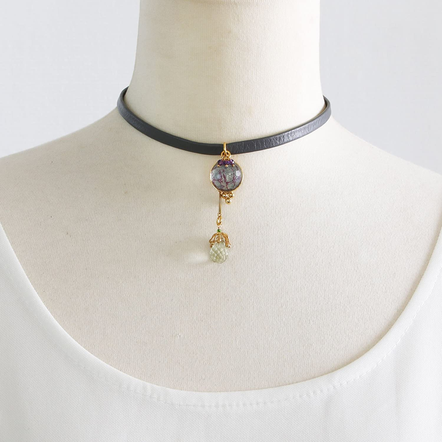 Tamarusan Leather Strap Choker Amethyst Water Surface Blue Purple Unisex