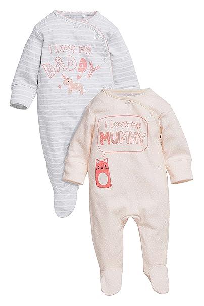 next Bebé Niña Pack De Dos Pijamas Tipo Pelele con Personaje De Papá Y Mamá (