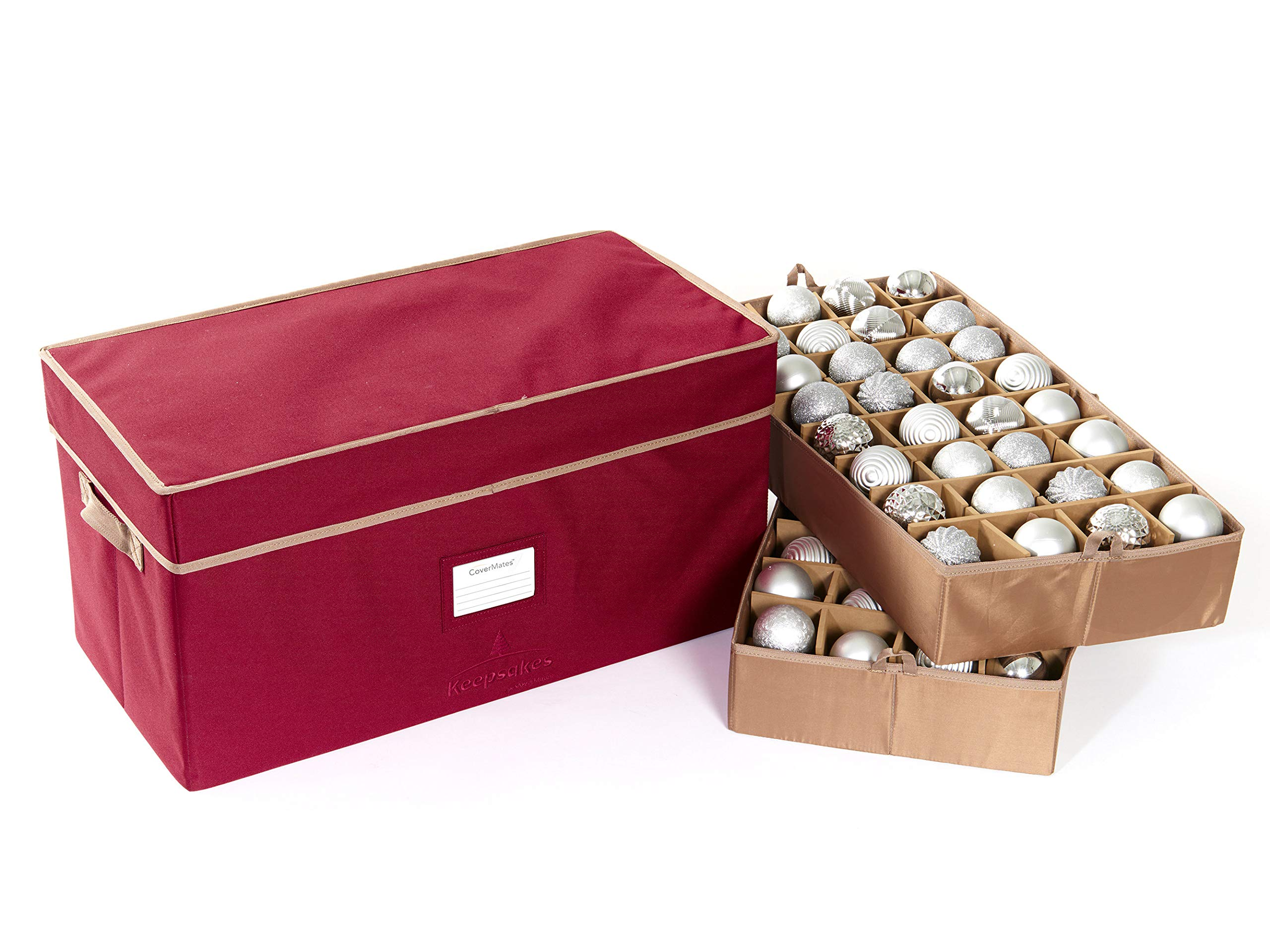 CoverMates – Holiday Adjustable Ornament Storage Box – Holds 54 to 96 Ornaments – 3 Year Warranty- Red