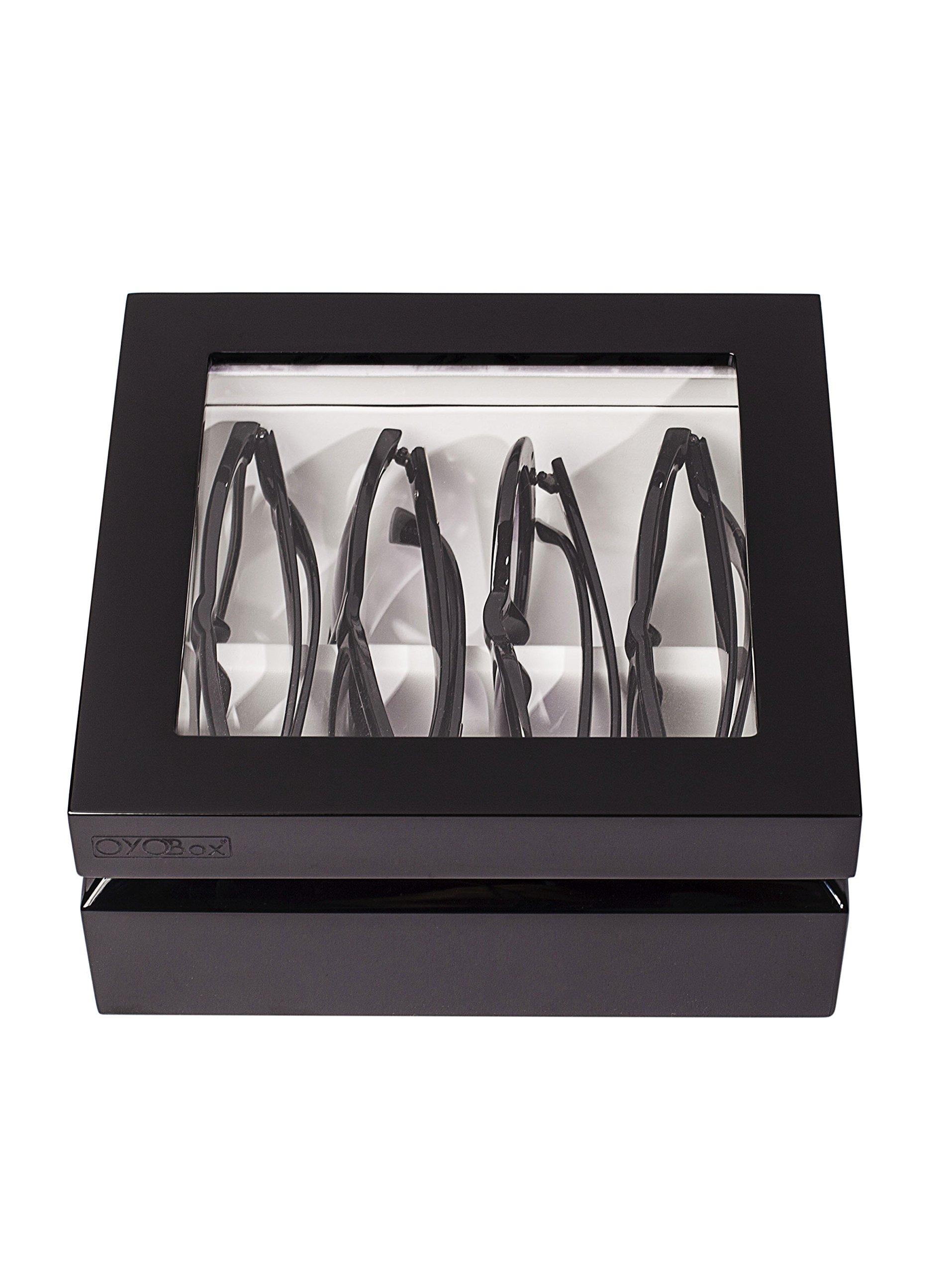 OYOBox Mini Luxury Eyewear Organizer, Wood Display Box for Glasses + Sunglasses (Black) by OYOBox