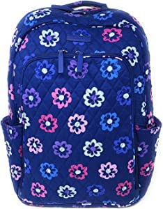 Vera Bradley Laptop Backpack (Updated Version) with Solid Color Interiors (Ellie Flowers with Purple Interiors)