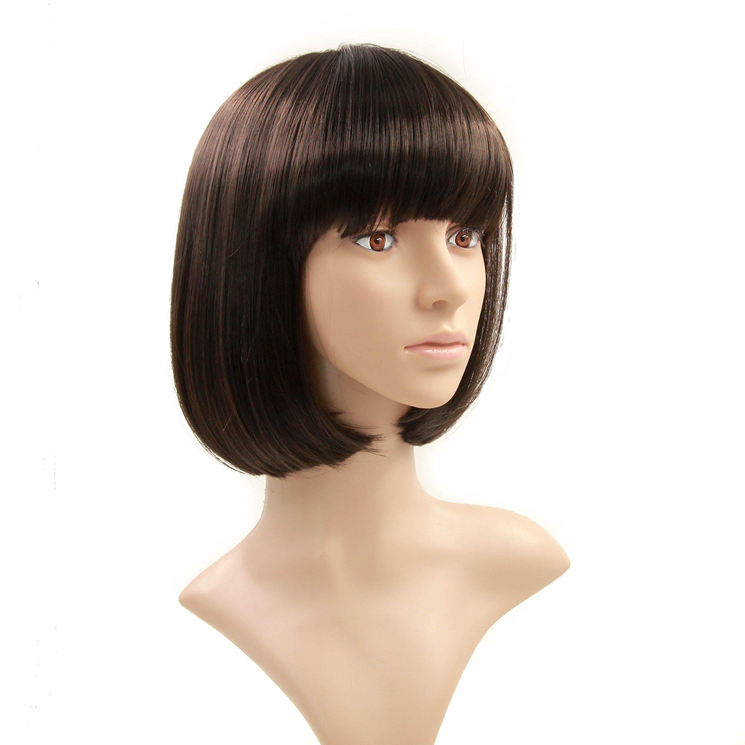 Charming Christmas Gift Short Bob Wigs Straight Bang Cosplay for Xmas Party Costume Wig Natural as Real hair 11 inch (Black)